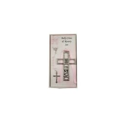 Pewter Girl Cross and Rosary Set
