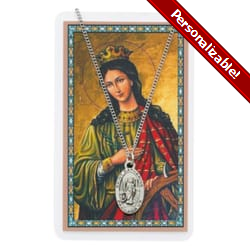 Pewter St. Catherine Medal with Prayer Card