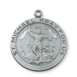 Pewter St. Michael Medal with 24 inch chain