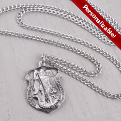 Saint Michael Shield Medal - Sterling Silver