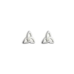 Silver Trinity Knot Earrings with Pearl - Girls