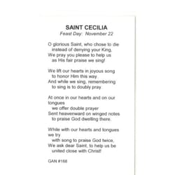 St. Cecilia Patron Saint Prayer Card w/Medal