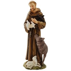 St. Francis Alabaster Statue w/ Wolf - 6 inches