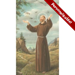St. Francis of Assisi with Birds Personalized Prayer Cards