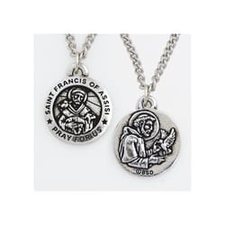 St. Francis of Assisi Pewter Medal, 24 inch Chain