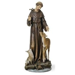 St Francis with Deer Statue -14 inch