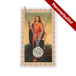St. John Patron Saint Prayer Card w/Medal