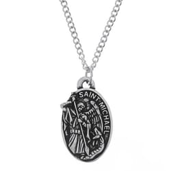 St. Michael Pewter Medal, 24 inch chain