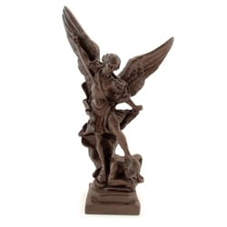 St.Michael Statue, Wood Look - 8 inches