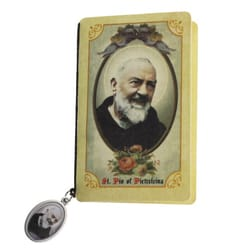 St. Pio Folded Prayer Card with Medal
