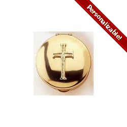 Stamped Pyx w/ Gold Latin Cross