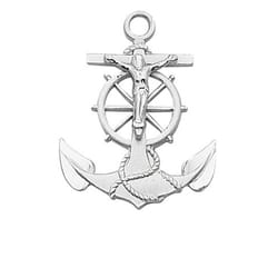 Sterling Silver Anchor Crucifix with 24 inch chain