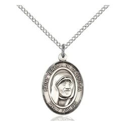 Sterling Silver Blessed Teresa of Calcutta Pendant w/ Chain