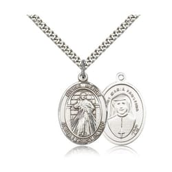 Sterling Silver Divine Mercy Pendant w/ chain