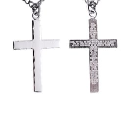 Sterling Silver Engraved Cross with the Lords Prayer with 24 inch chain