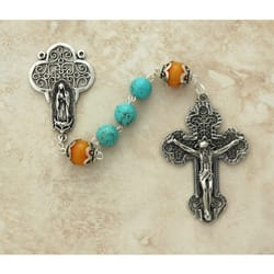 Sterling Silver Genuine Amber & Turquoise Rosary