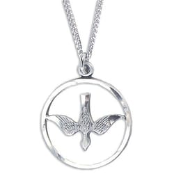 Sterling Silver Holy Spirit Medal on 18 inch chain