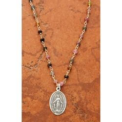 Sterling Silver Miraculous Medal on Tourmaline Beaded Chain, 18 inch