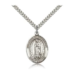 Sterling Silver Our Lady of Guadalupe Pendant w/ 22 inch chain