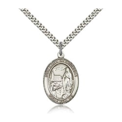 Sterling Silver Our Lady of Lourdes Pendant w/ chain