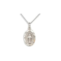 Sterling Silver Oval Miraculous Medal on 16 inch chain