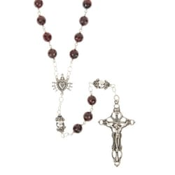 Sterling Silver Seven Sorrows Garnet Rosary, 7mm