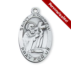 Sterling Silver St. Andrew Medal on 24 inch chain <!andmed>