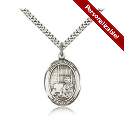 Sterling Silver St. Benjamin Pendant w/ chain