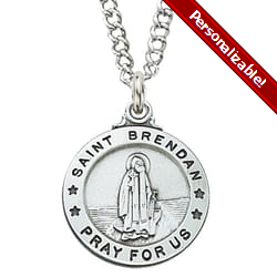Sterling Silver St. Brendan Medal with 20 inch chain