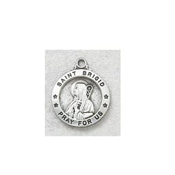 Sterling Silver St. Brigid Medal with 18 inch chain