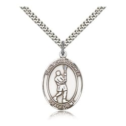 Sterling Silver St. Christopher Medal w/ chain - Lacrosse