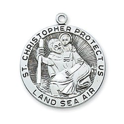 Sterling Silver St. Christopher Medal with 24 inch chain
