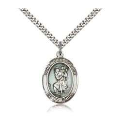 Sterling Silver St. Christopher Pendant w/ chain