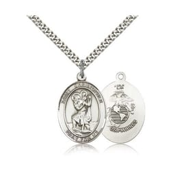 Sterling Silver St. Christopher Pendant -U.S. Marines Insignia  w/ 24 inches chain