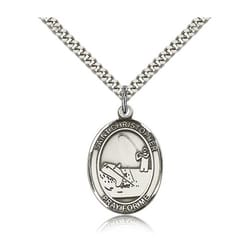 Sterling Silver St. Christopher Medal w/ chain - Fishing