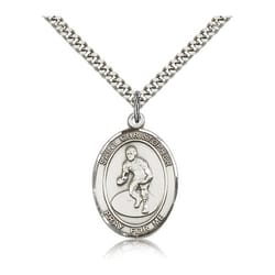 Sterling Silver St. Christopher Medal w/ chain - Wrestling
