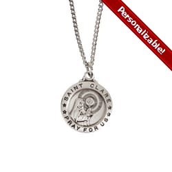 Sterling Silver St. Clare Medal with 18 inch chain