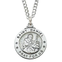 Sterling Silver St. Daniel Medal with 20 inch chain