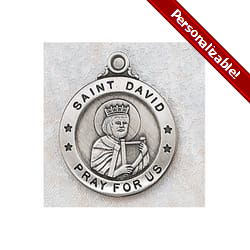 Sterling Silver St. David Medal with 20 inch chain