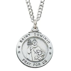 Sterling Silver St. Dominic Medal with 20 inch chain