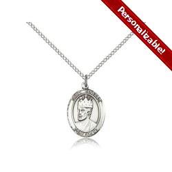 Sterling Silver St. Edward the Confessor Pendant w/ Chain