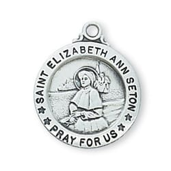 Sterling Silver St. Elizabeth Ann Seton Medal with 18 inch chain