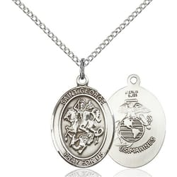 St george medals the catholic company sterling silver st george marines pendant w chain aloadofball Image collections