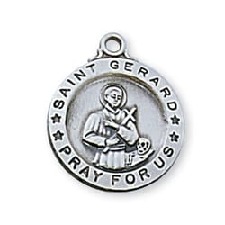 Sterling Silver St. Gerard Medal with 18 inch chain
