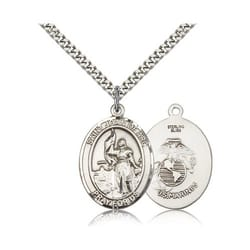 Sterling Silver St. Joan of Arc /U.S.  Marines  Insignia Pendant w/ chain