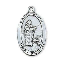 Sterling Silver St. John Medal with 24 inch chain