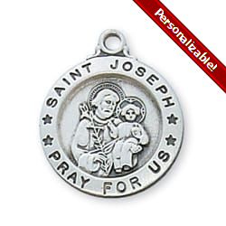 Sterling Silver St. Joseph Medal with 18 inch chain