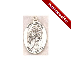 Sterling Silver St. Joseph Medal on 20 inch chain<!josephmedal>