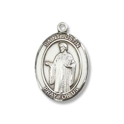 Sterling Silver St. Justin Pendant w/ Chain
