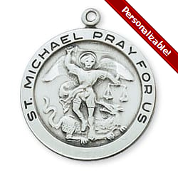 Sterling Silver St. Michael Medal on 24 inch chain